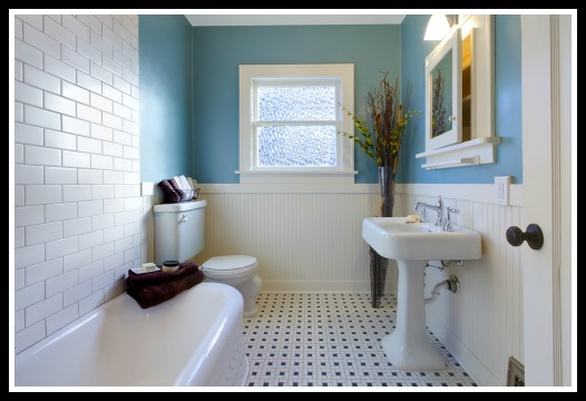 Luxury blue bathroom in an old house in Tallahssee